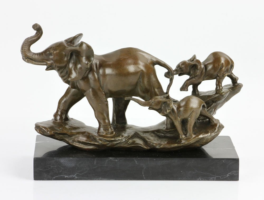 Signed Barye, Elephant with Cubs, Bronze
