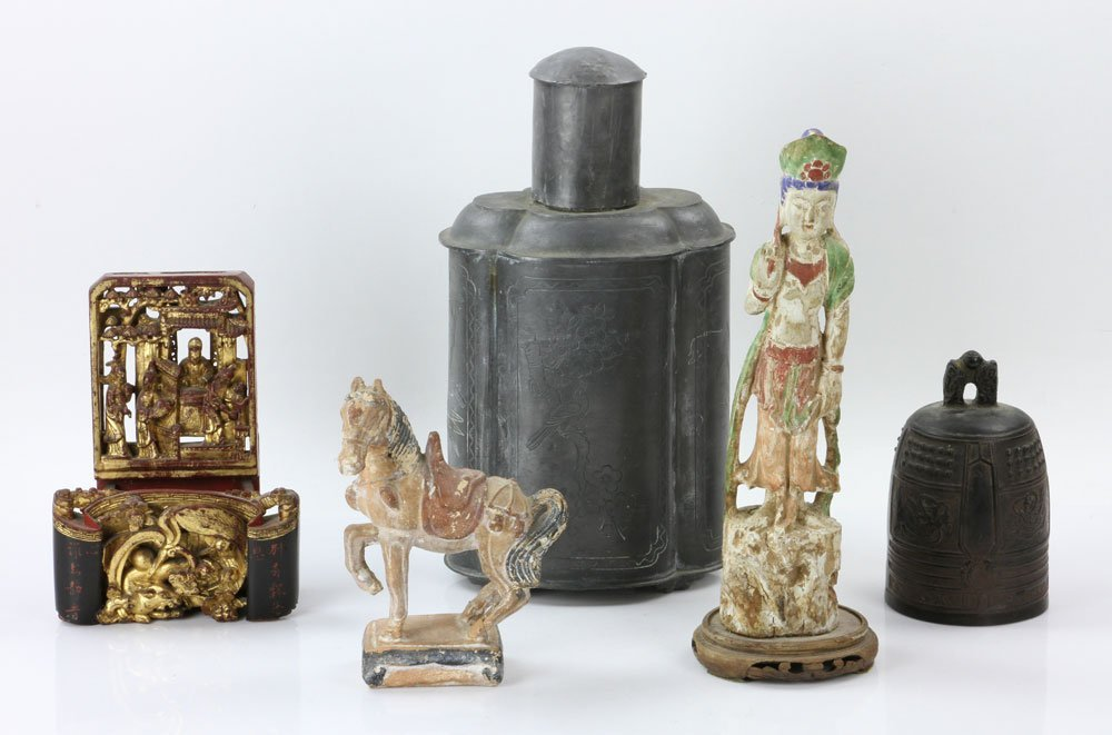 Five Asian Carved Items