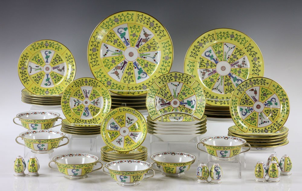 """Herend """"Yellow Dynasty"""" Dinner Service, 56 Pieces"""