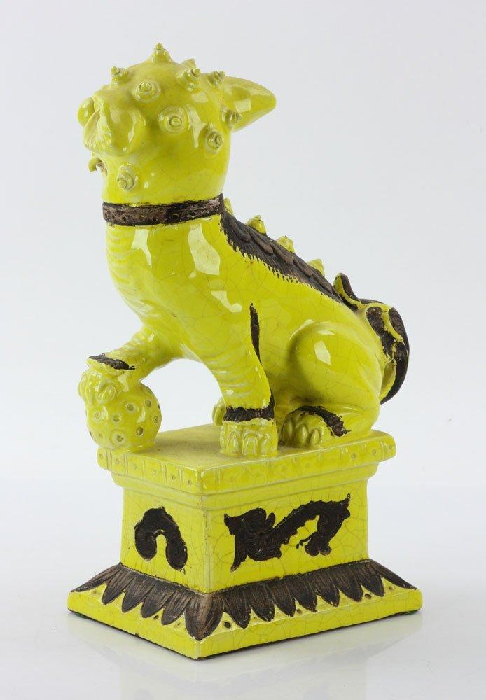 19th C. Chinese Yellow Glaze Foo Dog - 5