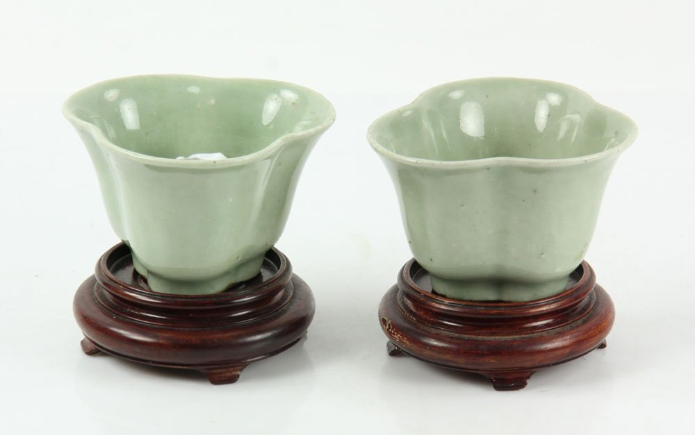 Pr. Chinese Celadon Cups on Wood Stands
