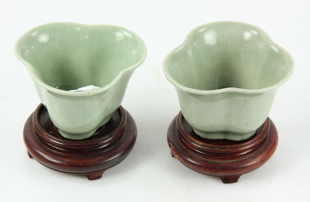 Pr. Chinese Celadon Cups on Wood Stands - 2