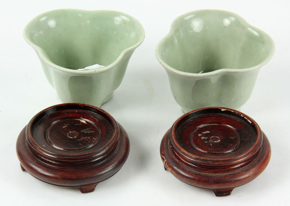 Pr. Chinese Celadon Cups on Wood Stands - 3