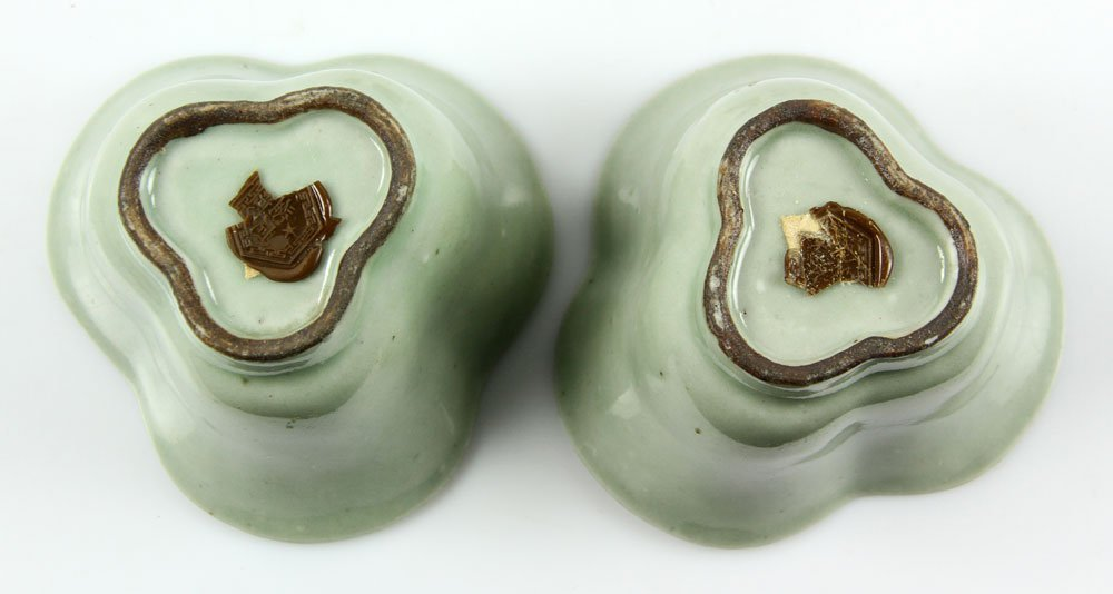 Pr. Chinese Celadon Cups on Wood Stands - 4