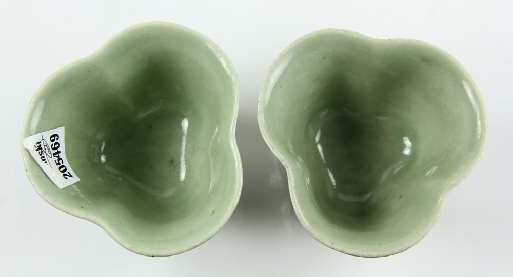 Pr. Chinese Celadon Cups on Wood Stands - 6