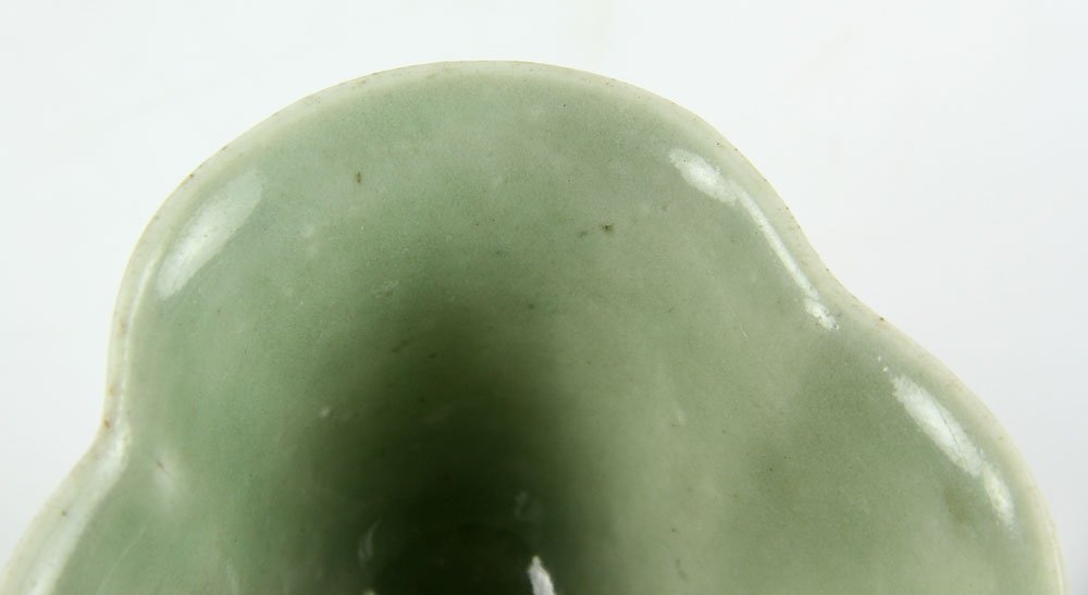 Pr. Chinese Celadon Cups on Wood Stands - 7