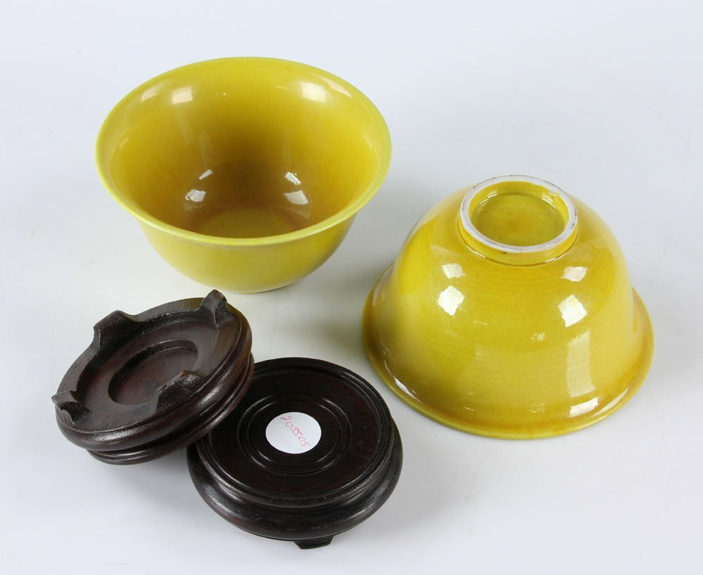 Near Pr. Antique Chinese Yellow Rice Bowls - 3