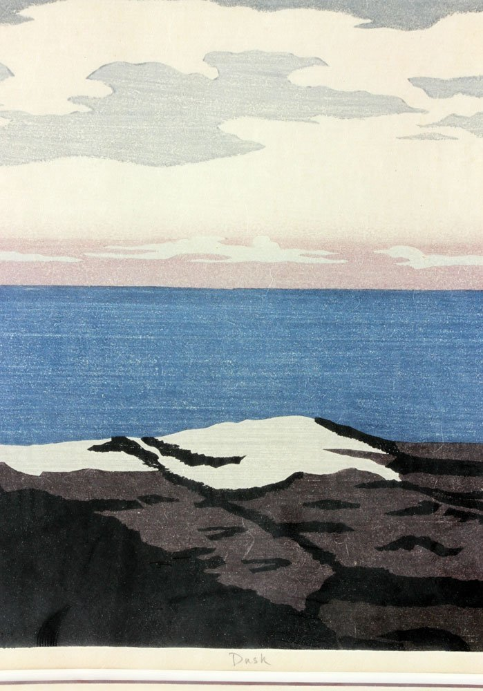 "Japanese Woodblock Print, ""Dusk"" - 6"