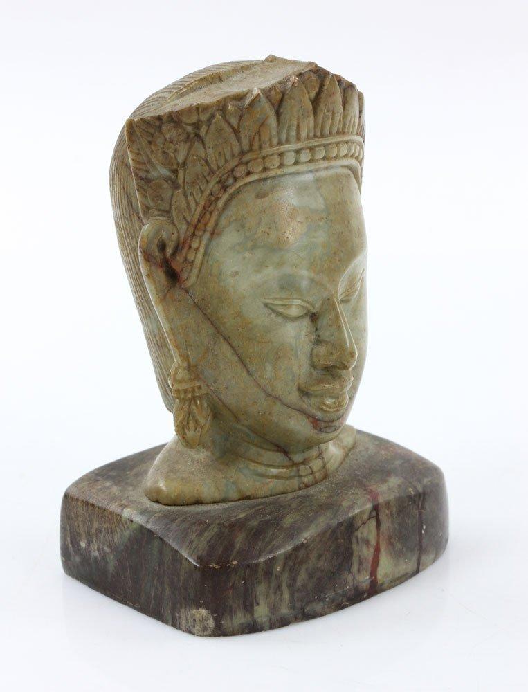 19th C. Thai Carved Soapstone Head - 2