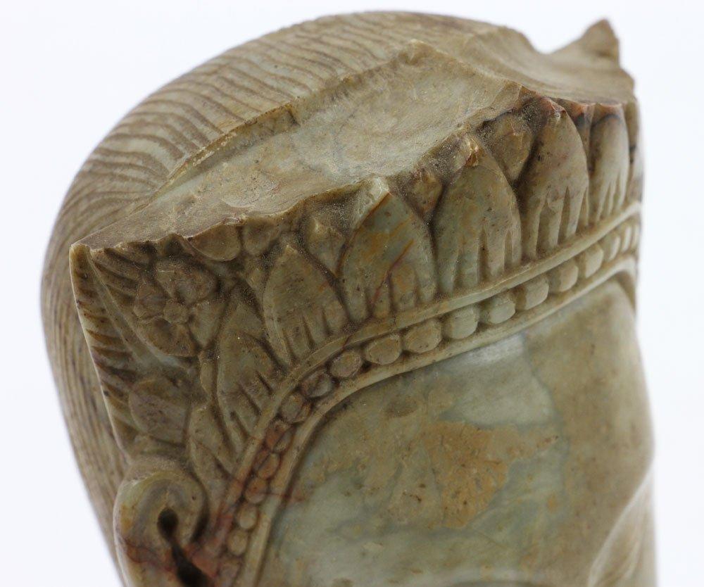 19th C. Thai Carved Soapstone Head - 6