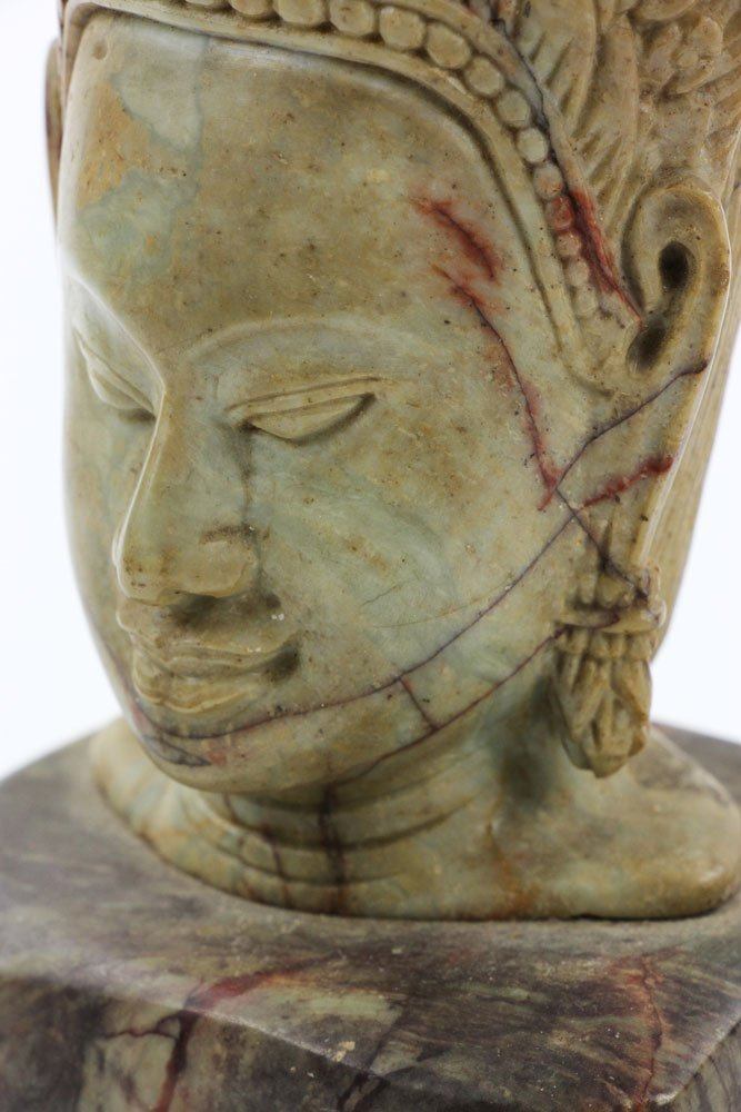 19th C. Thai Carved Soapstone Head - 7