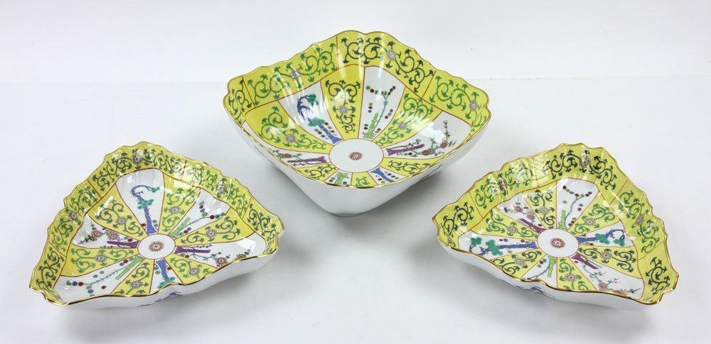 """Three Herend """"Yellow Dynasty"""" Serving Bowls"""