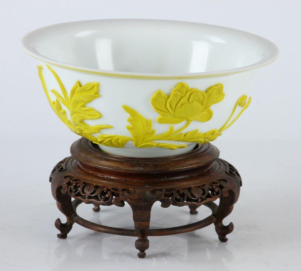 Chinese Peking Glass Yellow Bowl