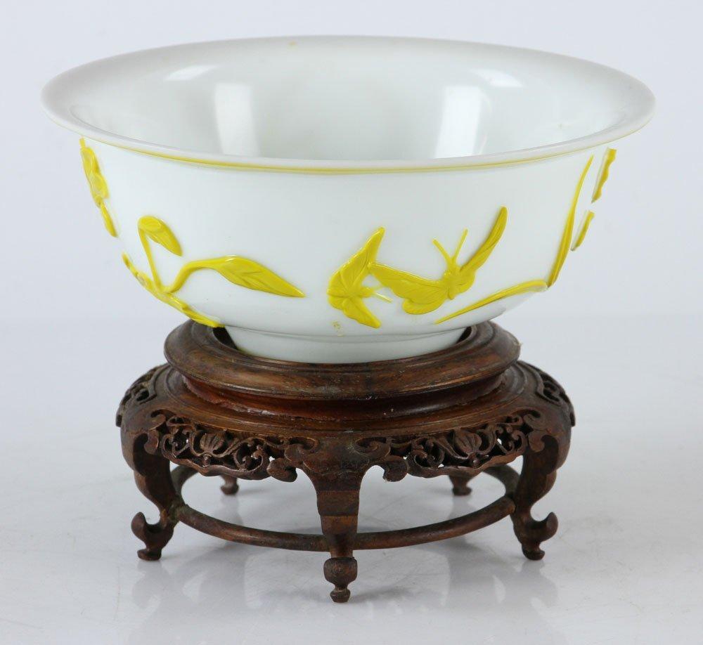 Chinese Peking Glass Yellow Bowl - 2