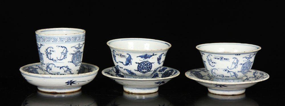 Three Chinese Blue and White Cups with Saucers