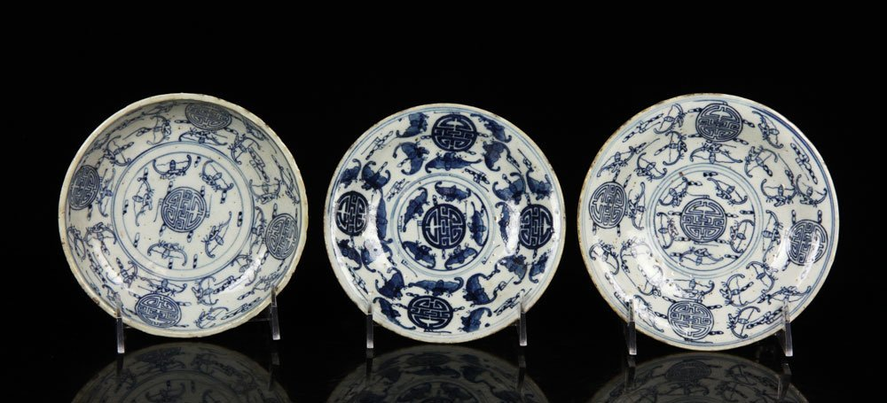 Three Chinese Blue and White Cups with Saucers - 2