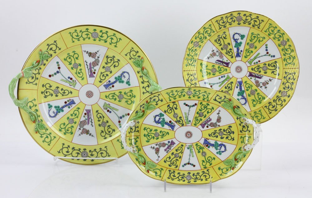 """Three Herend """"Yellow Dynasty"""" Porcelain Pieces"""