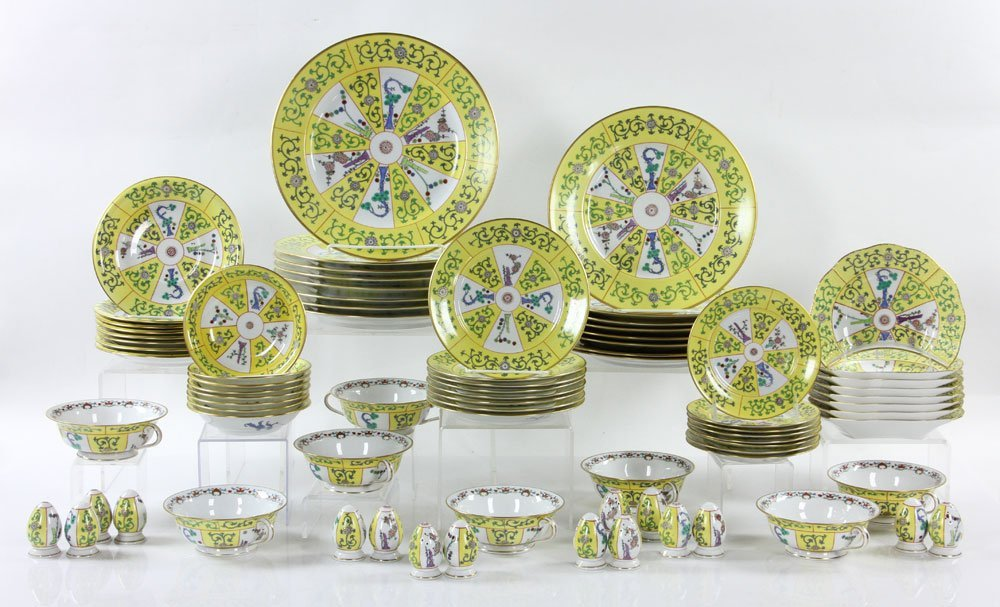 """Herend """"Yellow Dynasty"""" Dinner Service, 80 Pieces"""