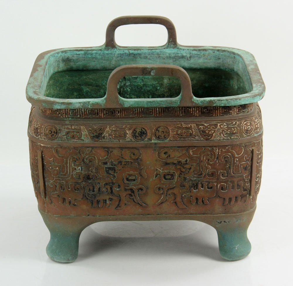Chinese Bronze Planter with Handles