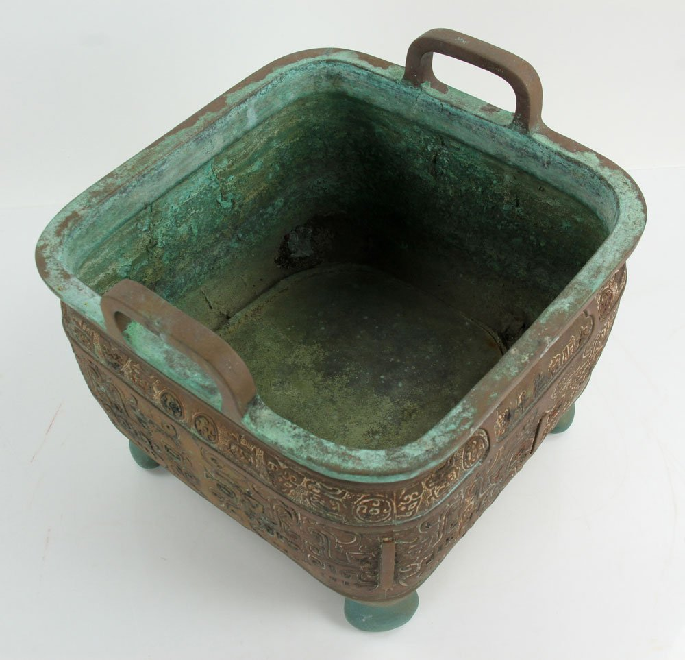 Chinese Bronze Planter with Handles - 3