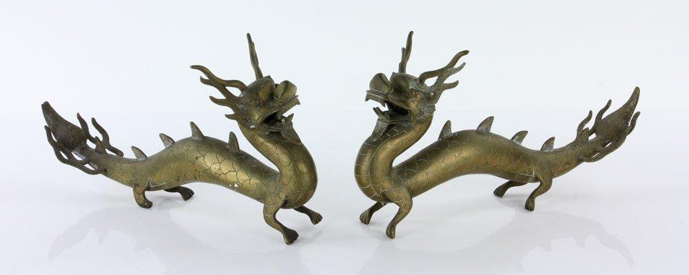 Pr. 18th C. Chinese Engraved Brass Dragons