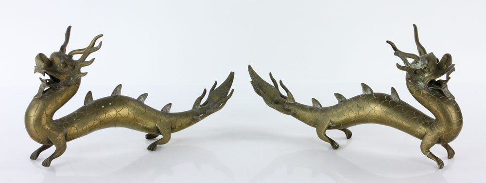 Pr. 18th C. Chinese Engraved Brass Dragons - 2