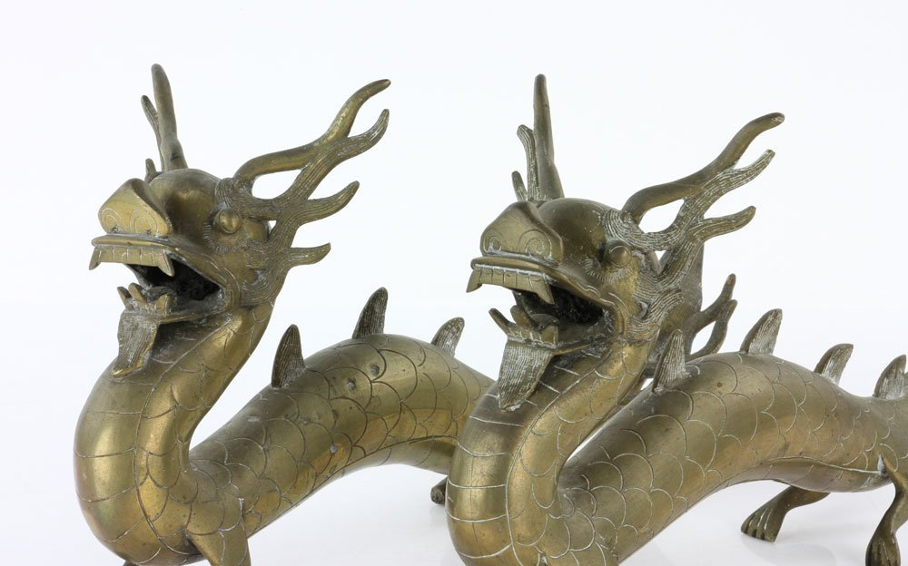 Pr. 18th C. Chinese Engraved Brass Dragons - 3