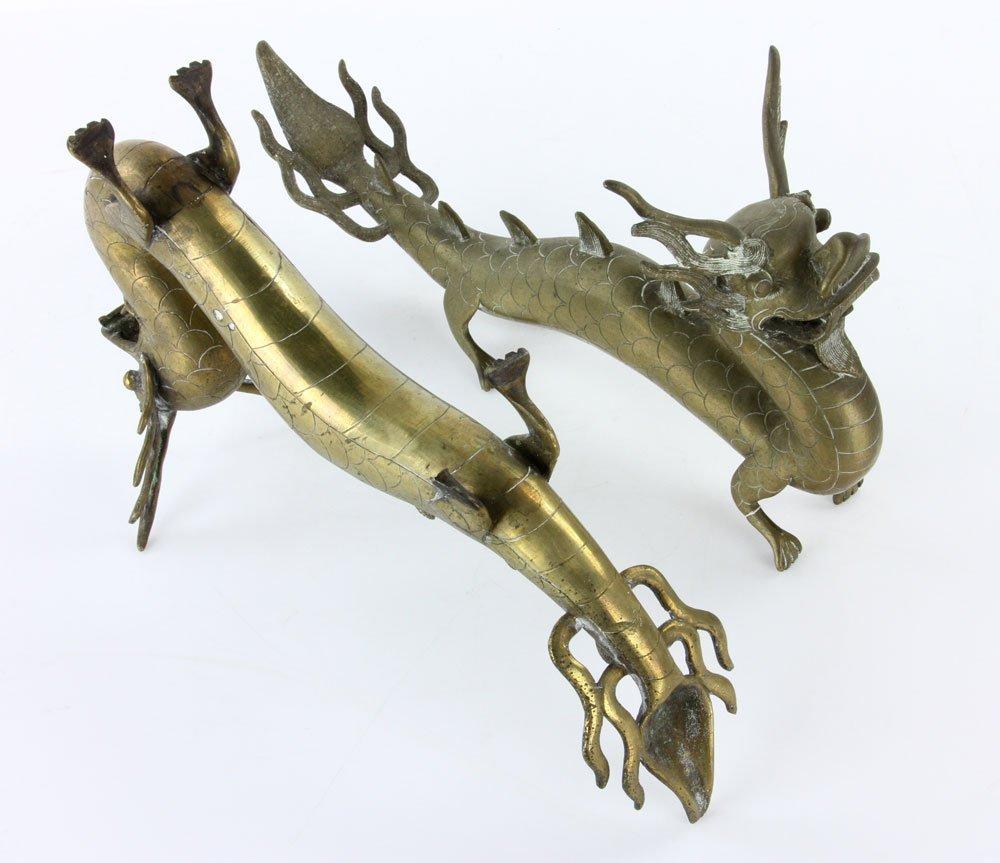 Pr. 18th C. Chinese Engraved Brass Dragons - 5