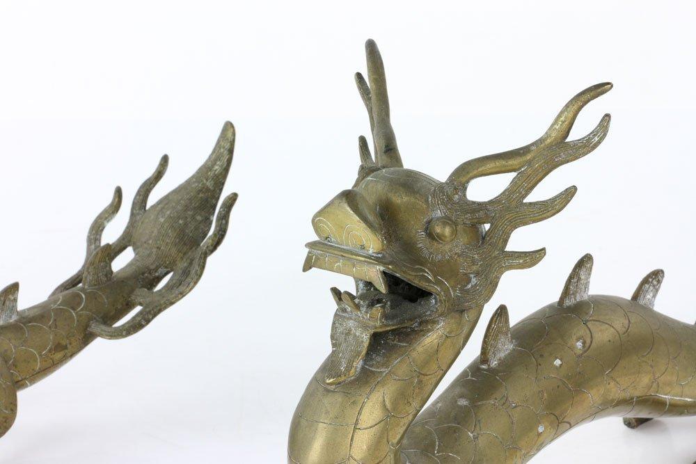 Pr. 18th C. Chinese Engraved Brass Dragons - 6
