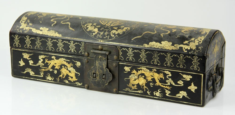 Chinese Lacquer and Gold Decorated Box