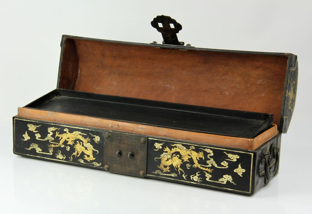 Chinese Lacquer and Gold Decorated Box - 2
