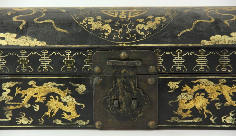 Chinese Lacquer and Gold Decorated Box - 4