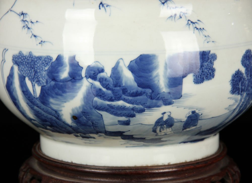 Blue and White Landscape Censer - 3