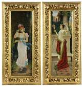 Pair Romantic Paintings, Oil on Canvas