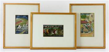 Group of Three Indian Miniatures