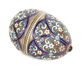 Antique Russian Enameled Silver Egg