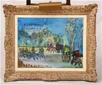Dufy Parisian Park Scene Oil on Canvas