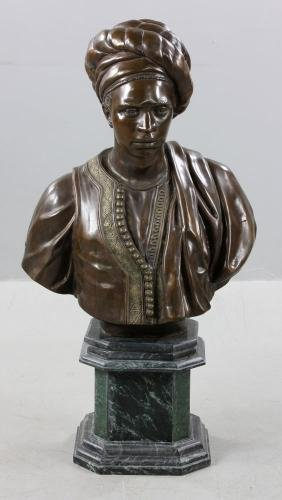 After Cordier, French Orientalist Bust, Bronze