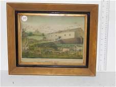 "Four framed lithographs, ""Noah's ark"" by Kellogg minor"