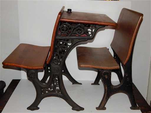 - Two Pieces, 1930's School Desk With Inkwell/seat And