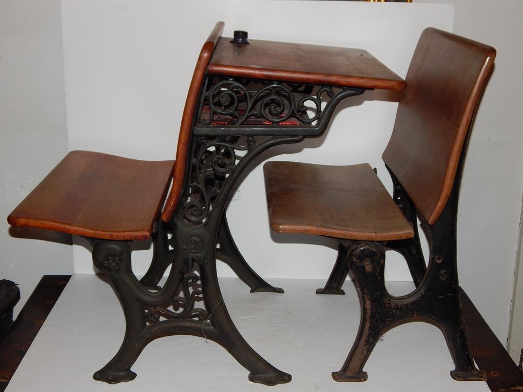 Two pieces, 1930's school desk with inkwell/seat and