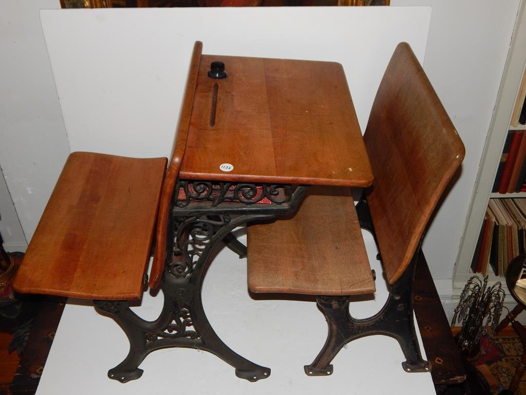Two pieces, 1930's school desk with inkwell/seat and - 2
