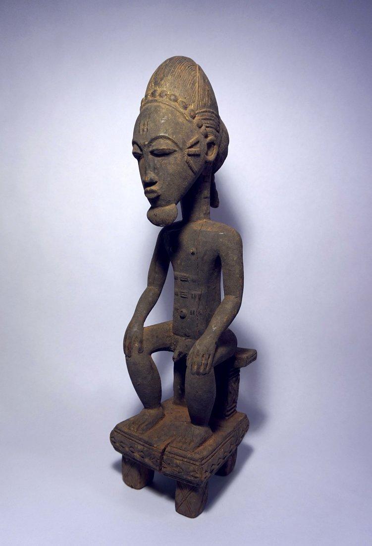 Fine Old Baule Seated Male Ancestor , African Art