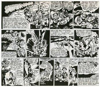 Superman Original inking by Jerry Siegel & Ben Bryan