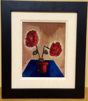 Red Flowers by Tony Curtis & Signed Framed Postcard.
