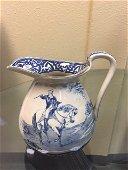 Buffalo Pottery, Blue & White Ceramic Pitcher c.1906