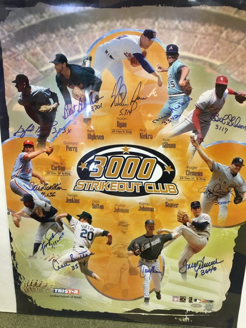 Sport Memorabilia: 3000K Strike-Out Club Poster Signed