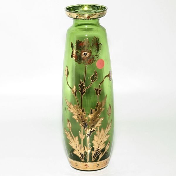 1001: Victorian green glass vase, raised gold poppy dec