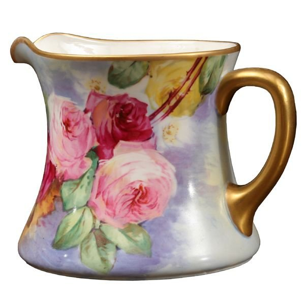 1002: Hand painted porcelain cider pitcher, Limoge W.G.