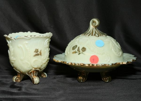 1004: Lot of 2 pieces Victorian custard glass. Louis 15